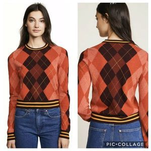Rag & Bone Dex Crew Argyle Wool Sweater L NWT $325